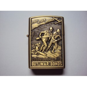 Hand Carved Vietnam Ligher - Soliders Attack with Gun- Handmde lighter