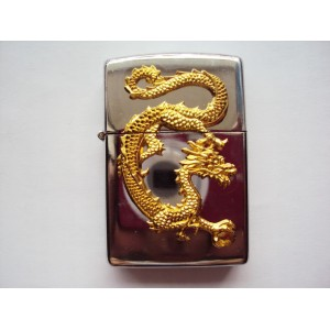Hand carved Vietnam Lighter - Yellow Dragon pattern - Handmade Special Lighter