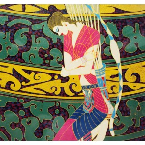 Vietnam Lacquer Art Picture - Vietnamese Ethnic girl with bow - 12x12 inch