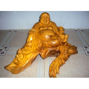 New Hand Carved Wood Art Buddha Statue -Sculpture Buddha -Vietnam Carving-10.6 inch -N5