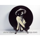 Vietnam Art Lacquer Dish -Eggshell Inlaid -Girl Student on Ao dai -Wall hanging