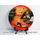 Vietnam Art Lacquer Dish-Countryside landscape-holder wall hanging-Home decor