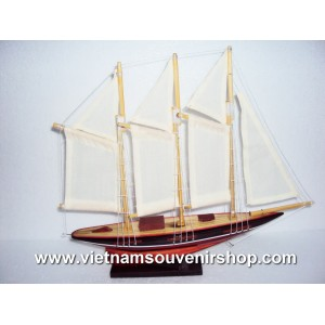 Handmade Wood Art Model Ship - Handmade SAIL BOAT - Desk Decoration- model N2