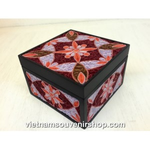Hanmade Jewelry box with Handcrafted Quilling -Pink flowers - Christmas Gift