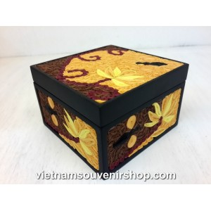 Hanmade Vietnam Jewelry box with Handcrafted Quilling -Yellow Flowers pattern