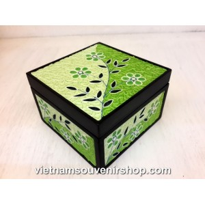 Hanmade Vietnam Jewelry box with Handcrafted Quilling - Green Flower pattern