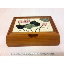 Hanmade Business Visit Card Box by bamboo and Handcrafted Quilling-Yellow Flower
