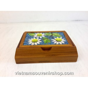 Hanmade Business Visit Card Box by bamboo and Handcrafted Quilling-White Flower