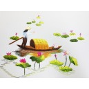 Vietnam Handmade needlepoint Embroidery Picture - Girl on of Lotus Pond
