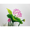 Vietnam Handmade needlepoint Embroidery Picture -Landscape of Lotus