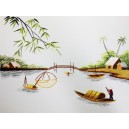 Vietnam Handmade needlepoint Embroidery Picture -Countryside landscape-River