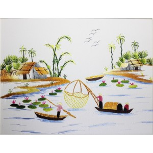 Vietnam Handmade needlepoint Embroidery Picture -Countryside landscape River