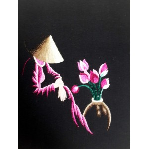 Vietnam Handmade needlepoint Embroidery Picture -Girl and Lotus