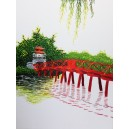 Vietnam Handmade needlepoint Embroidery Picture -The Huc Bridge landscape-Ha Noi