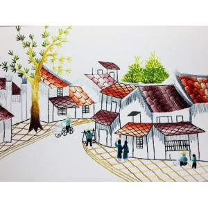 Vietnam Handmade needlepoint Embroidery Picture -Landscape Hoian Ancient town
