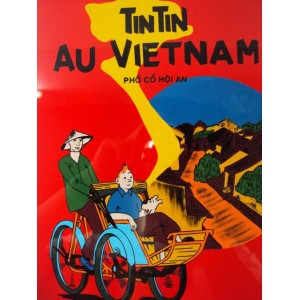 Vietnam Lacquer Art Paiting/ Plate picture-Tintin to Hoian ancient town Vietnam