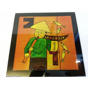 Art Lacquer Pictures (30x30)cm -Farmers go fishing -Wall hanging- Home decor