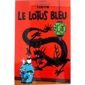Vietnam Lacquer Art Paiting/ Plate picture -TINTIN Le Lotus Bleu -The Blue Lotus