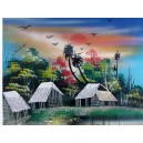 Art Lacquer Plate -Eggshell -Countryside Landscape- The girl boating on river
