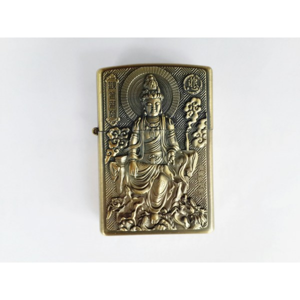 Hand Carved Vietnam Lighter With Statue Buddha Very Rare