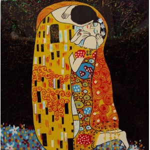 Vietnam Beautiful Lacquer Art Paiting/ Plate picture - couples / lovers kissing