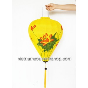 1 Handmade Hand Painted Vietnam Silk Lanterns - Yellow Lotus Pattern