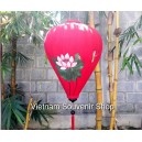 Handmade Hand Painted Vietnam Silk Lanterns - Large Size 26'' - Red Lotus Pattern - Lotus flower
