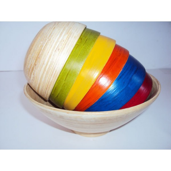Great Colorful Lacquerware Bowls Handmade Of Bamboo