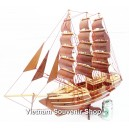 Handmade  Wooden Model Ship 28''- SAIL BOAT - Desk Decoration