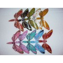 Set of 10 Hand Carved Painted Self Balancing Bamboo Butterfly Decor 14cm
