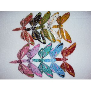 Hand Carved Painted Self Balancing Bamboo Butterfly Decor 14cm