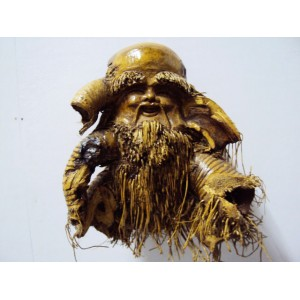 Hand Carved Sculpture Mask by Natural Bamboo Root -Vietnam statue- Handmade art