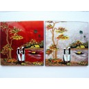 Set 2 Art Lacquer Pictures 20cm -Vietnam Girl on Ao dai -Country River Landscape