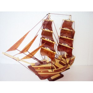 Handmade Wood Art Model Ship 11.8'' - Handmade SAIL BOAT - Desk Decoration