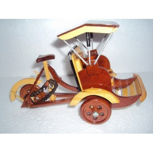 Hand Carved Wood Art Model Tricycle Pedicab -Vietnam Traditional Transportation