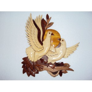 Hand Carved Wood Art Intarsia- Couple bird -Doves Love -Sign Plaque Wall Hanging