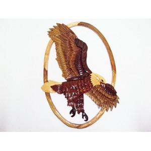 Hand Carved Wood Art Intarsia Flying Eagle Bird -Sign Plaque Wall Hanging Decor