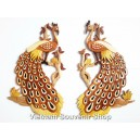 Lot 2 Hand Carved Wood Art Intarsia Couple Peacock -Sign Wall Plaque Bird Decor
