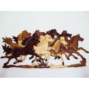 New Hand Carved Wood Art Intarsia 8 Running Horses Wood sign Wall Plaque Decor