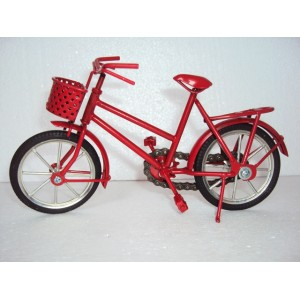 Hand Carved Mini Metal Art Model Bicycle - Iron handmade Red Bicycle Gift