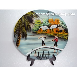 Vietnam Art Lacquer Dish 1-Countryside landscape-holder wall hanging-Home decor