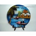 Vietnam Art Lacquer Dish 3-Countryside landscape-holder wall hanging-Home decor