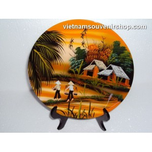 Vietnam Art Lacquer Dish 4 - Countryside landscape-holder wall hanging-Home decor
